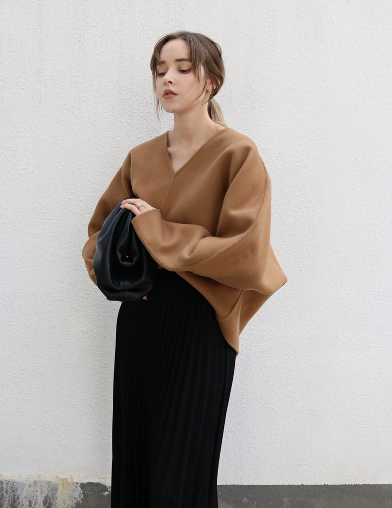 Brown Oversized V-neck Wool Sweater