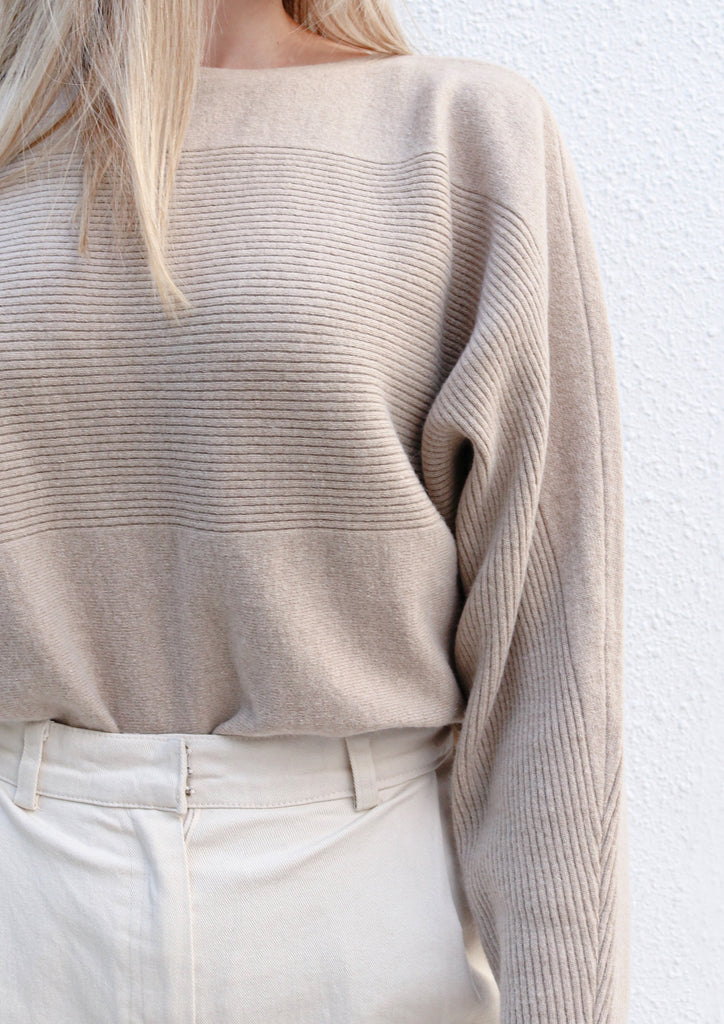 Oat Cashmere Wide Neck Knit