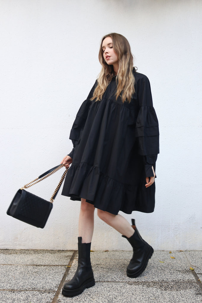 Black Billowy Midi Dress