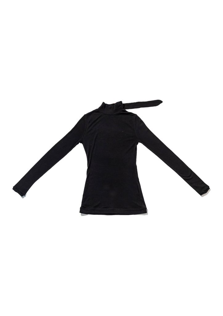 Black Mock Neck Thin Knit Buckle-Up Top