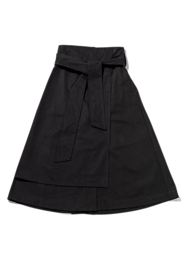 Black Tie Up Layered Skirt