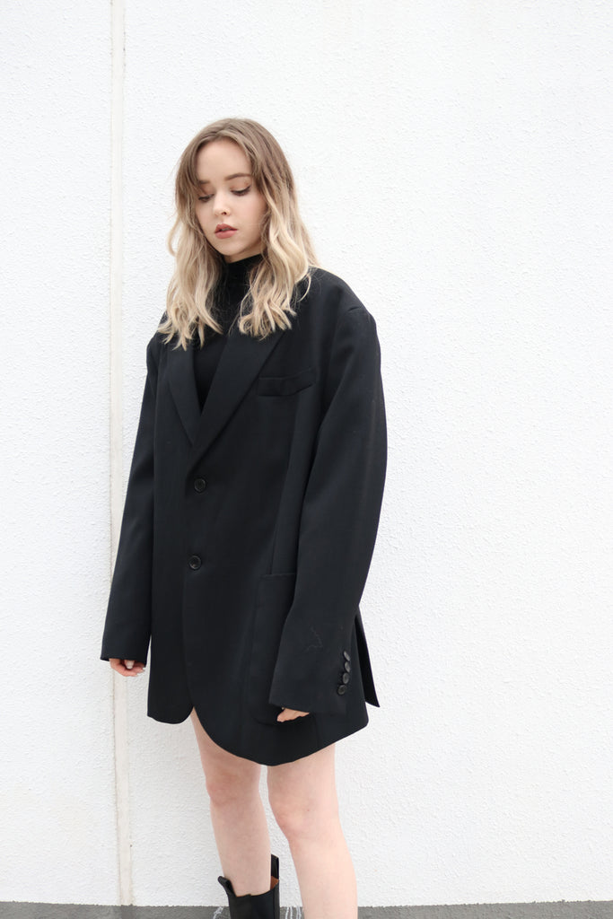 Black Oversized Wool Blazer