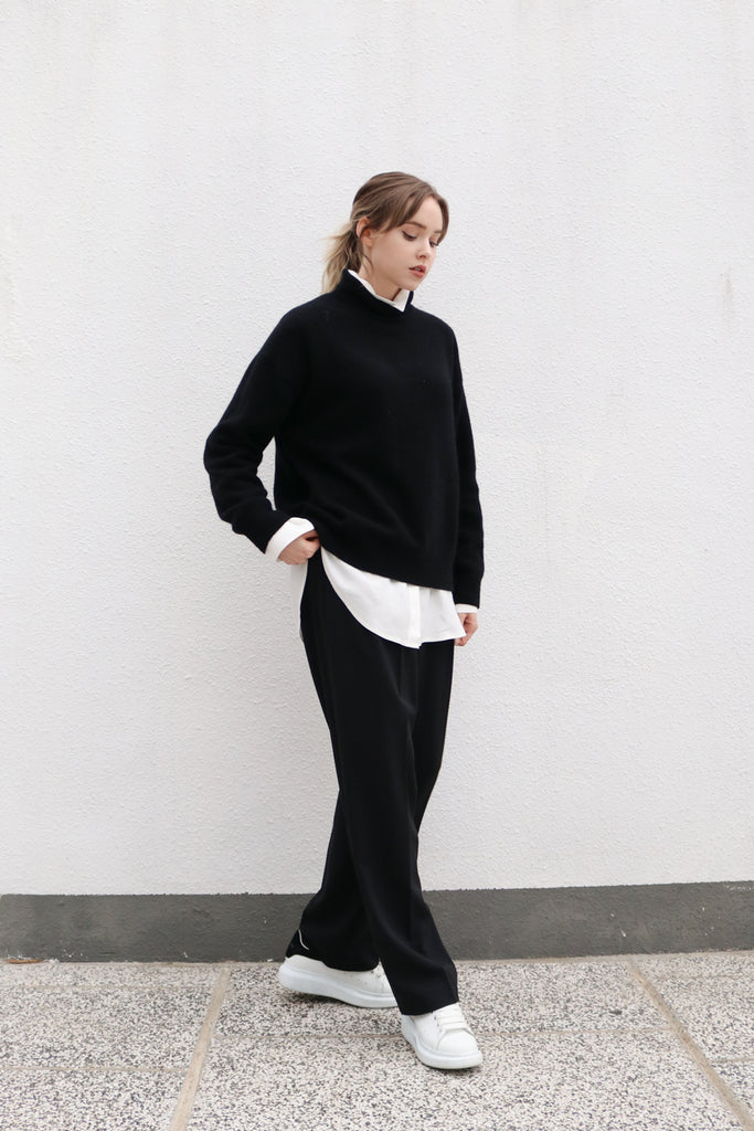 Black High Waisted Straight Trousers