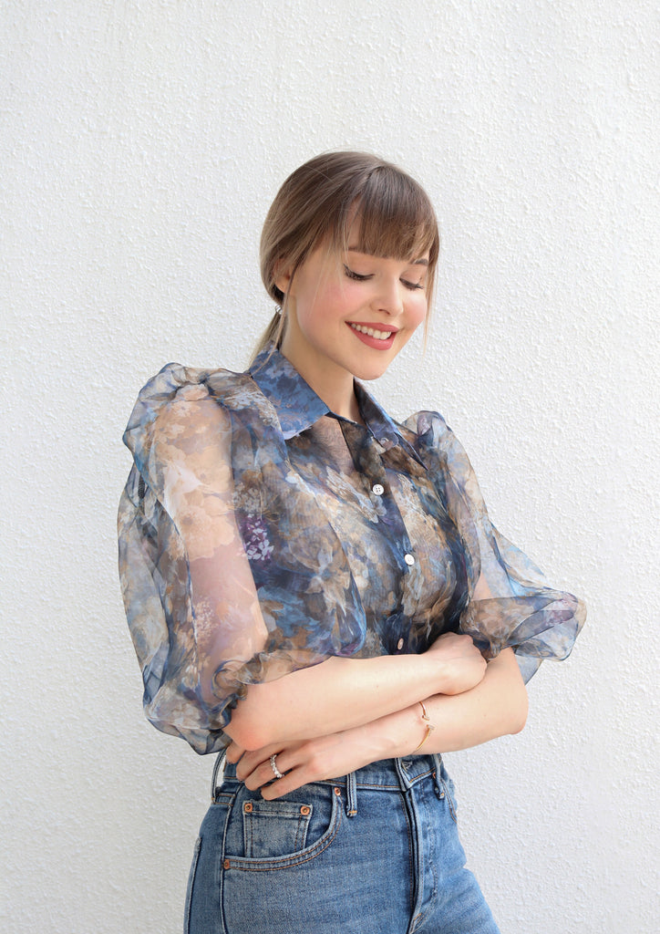Blue Sheer Floral Blouse