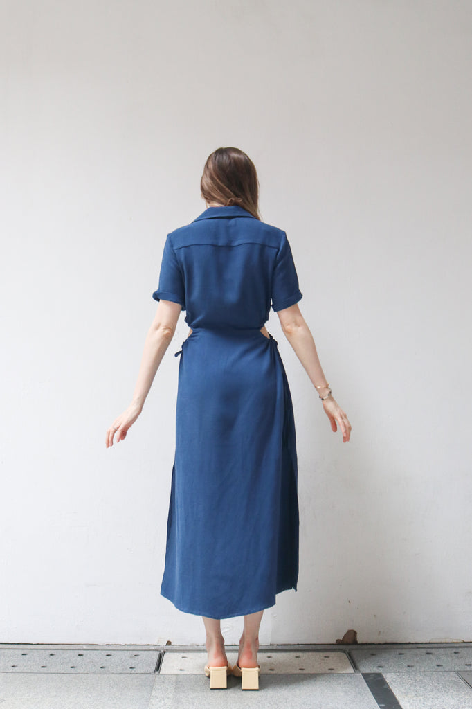 Blue Collared Cut-Out Dress
