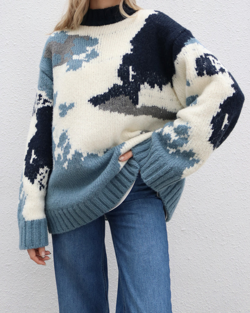 Blue Marbled Knit Sweater