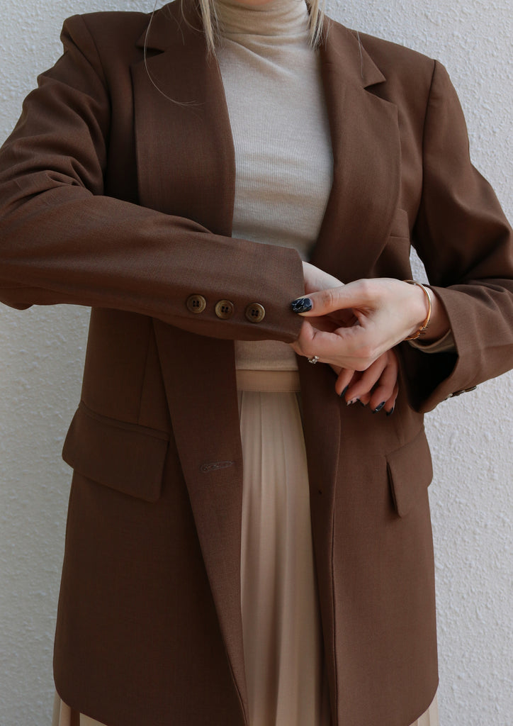 Brown Single Breasted Blazer