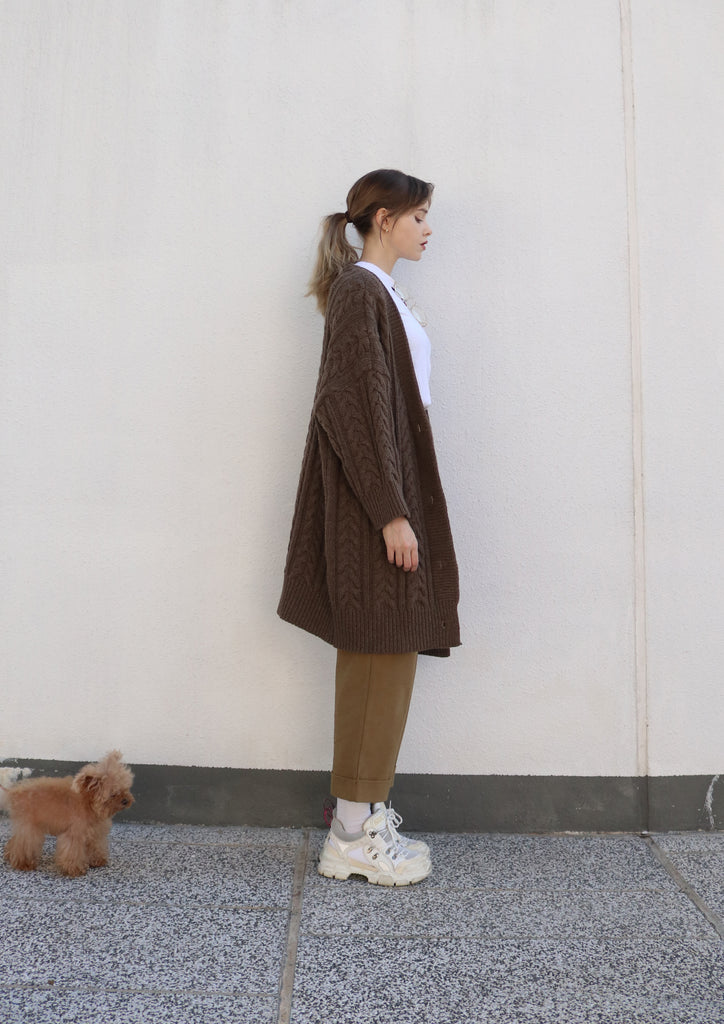 Oversized Brown Cable Knit Cardigan