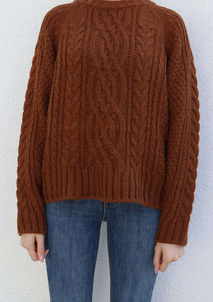 Brown Round Neck Cable Knit Sweater