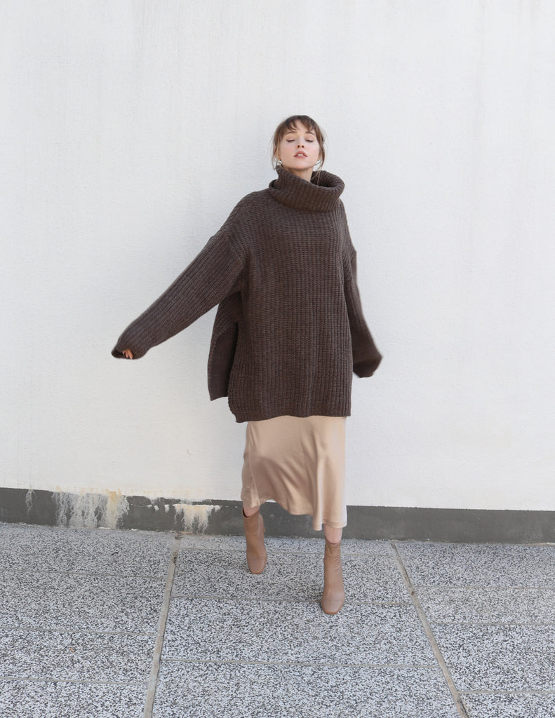 Brown Long Oversized Turtleneck