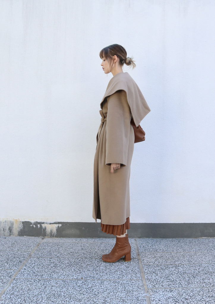 Beige Belted Caped Coat