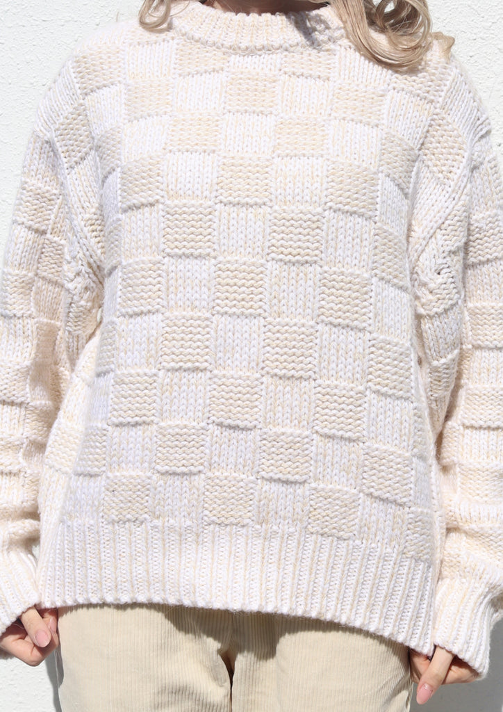 White & Oak Checked Round Neck Sweater