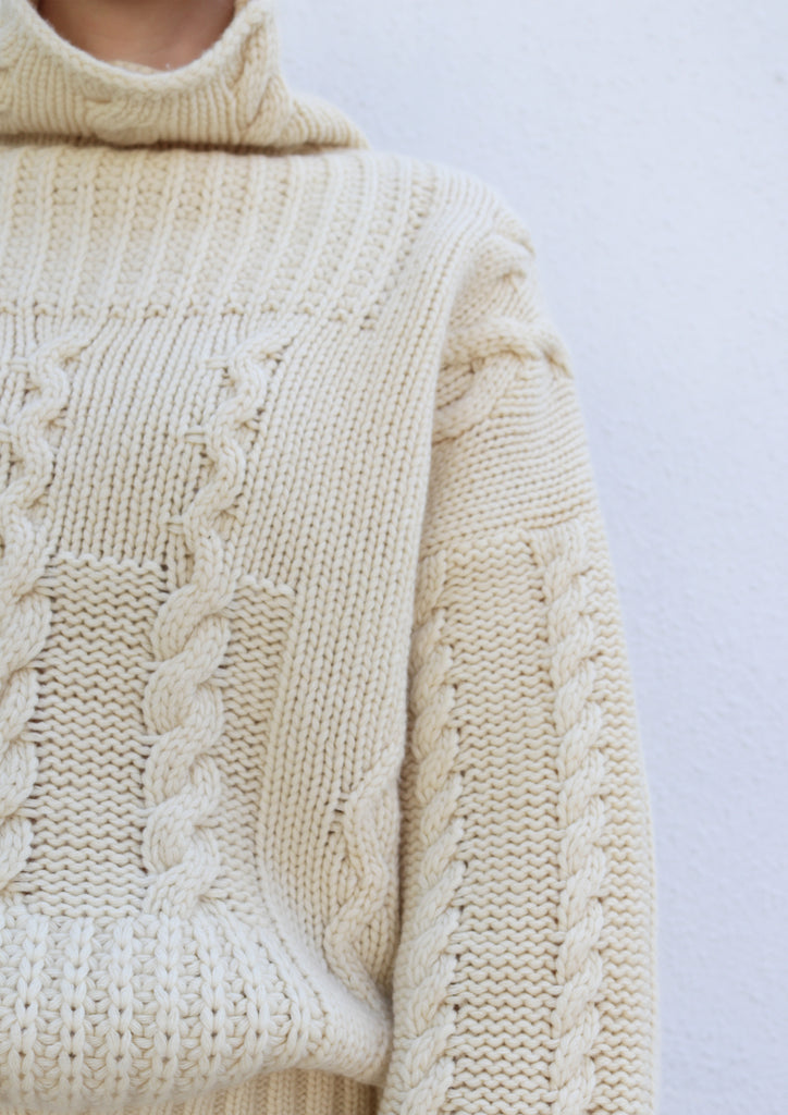 Cream Cable Knit Turtleneck