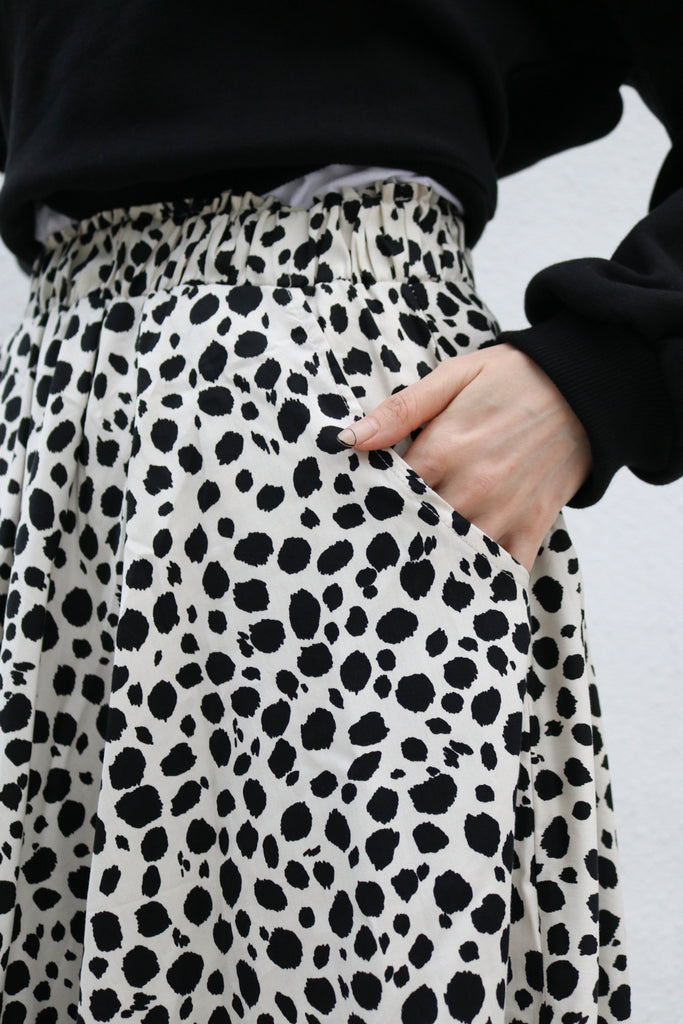 White Spotted Maxi Skirt