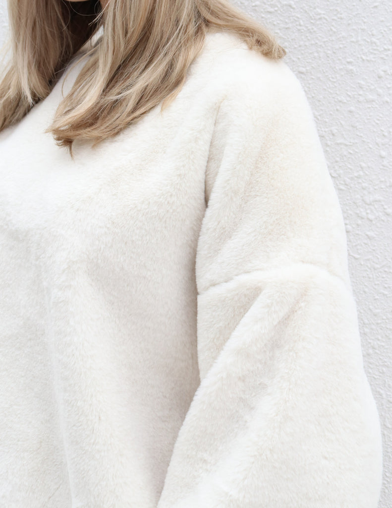 White Faux Fur Oversized Sweater