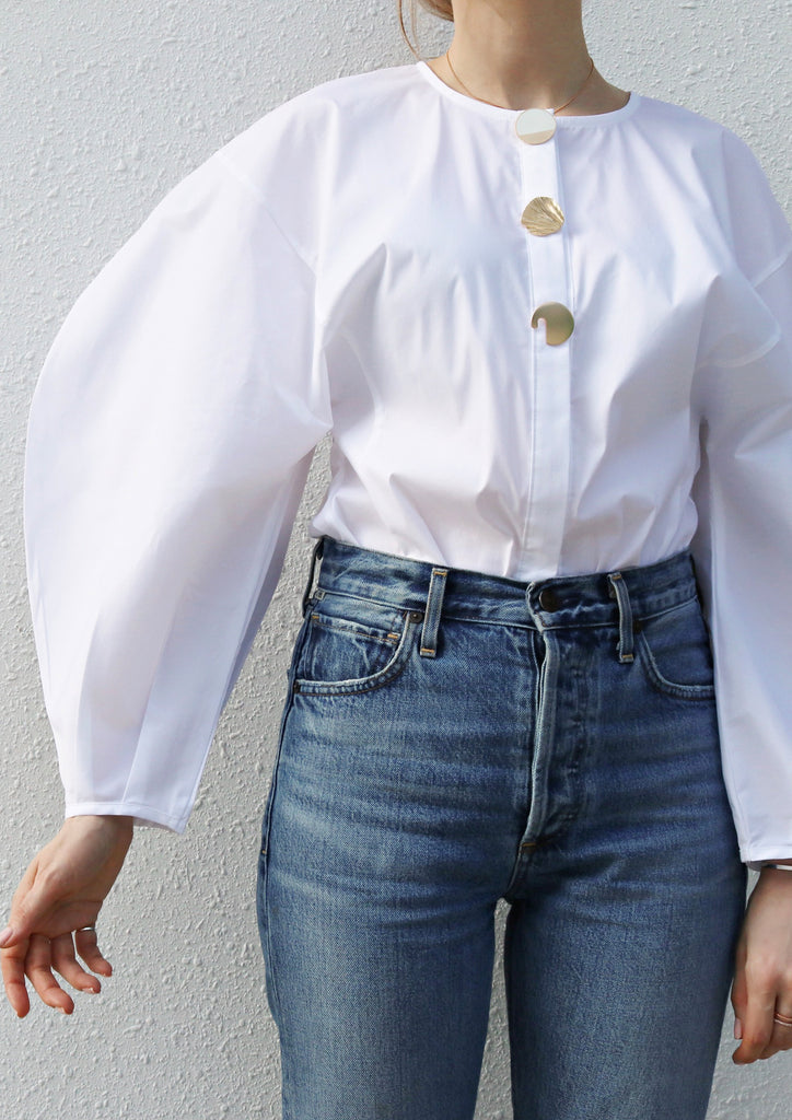 Gold Button Puff Sleeve Blouse