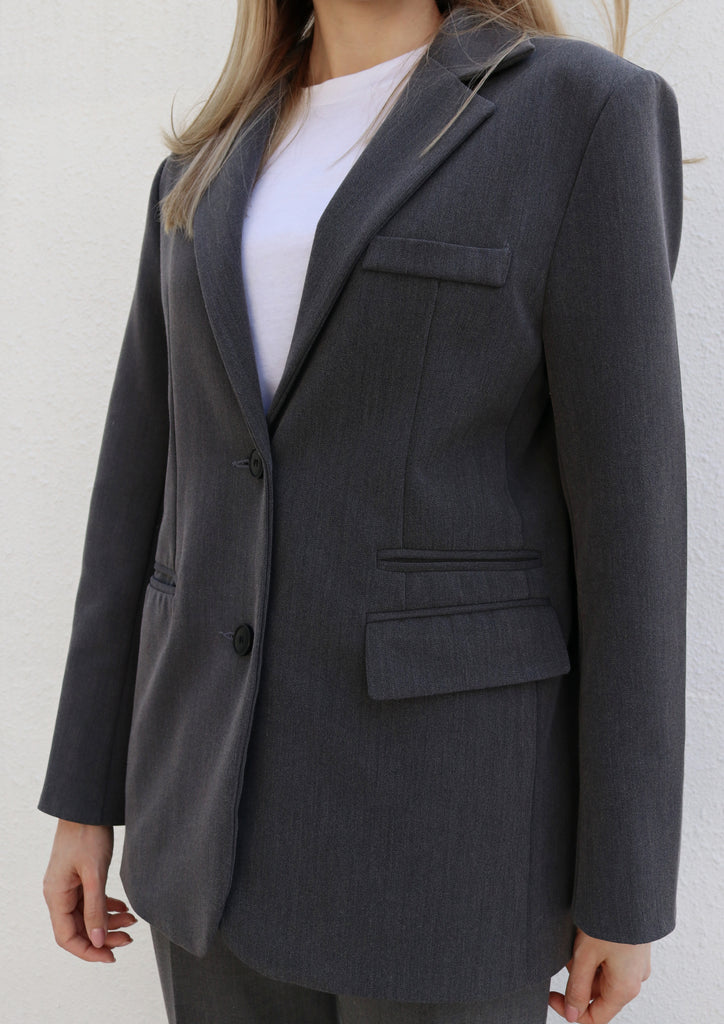 Grey Single Breasted Suit Blazer