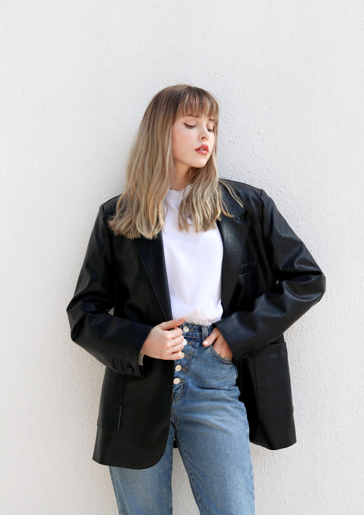 Oversized Leather Blazer