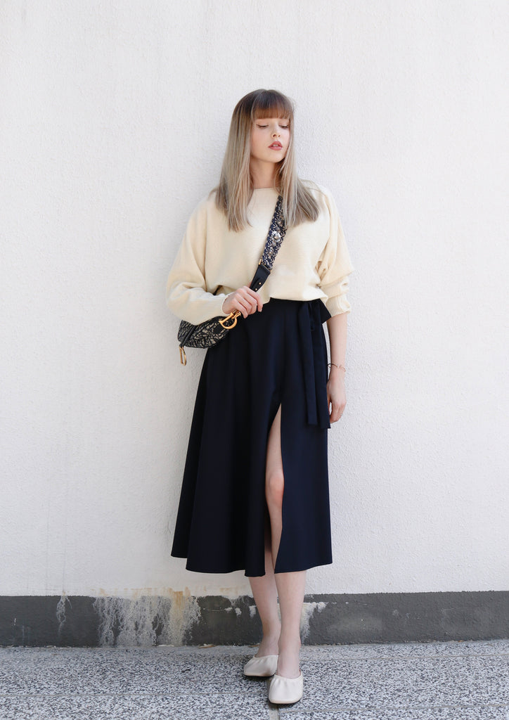 Navy Slit Midi Skirt
