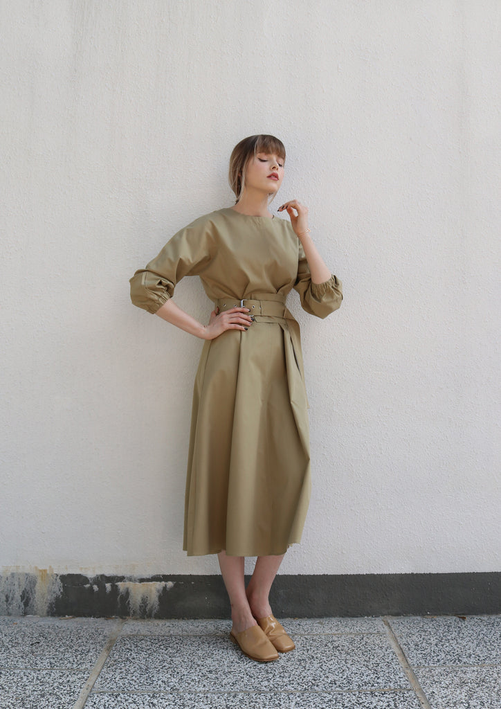 Olive Green Belted Dress