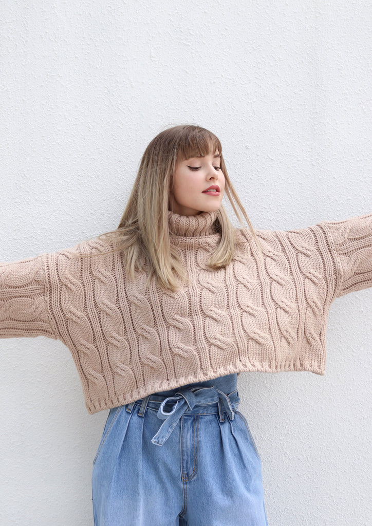 Blush Cropped Cable Knit Turtleneck