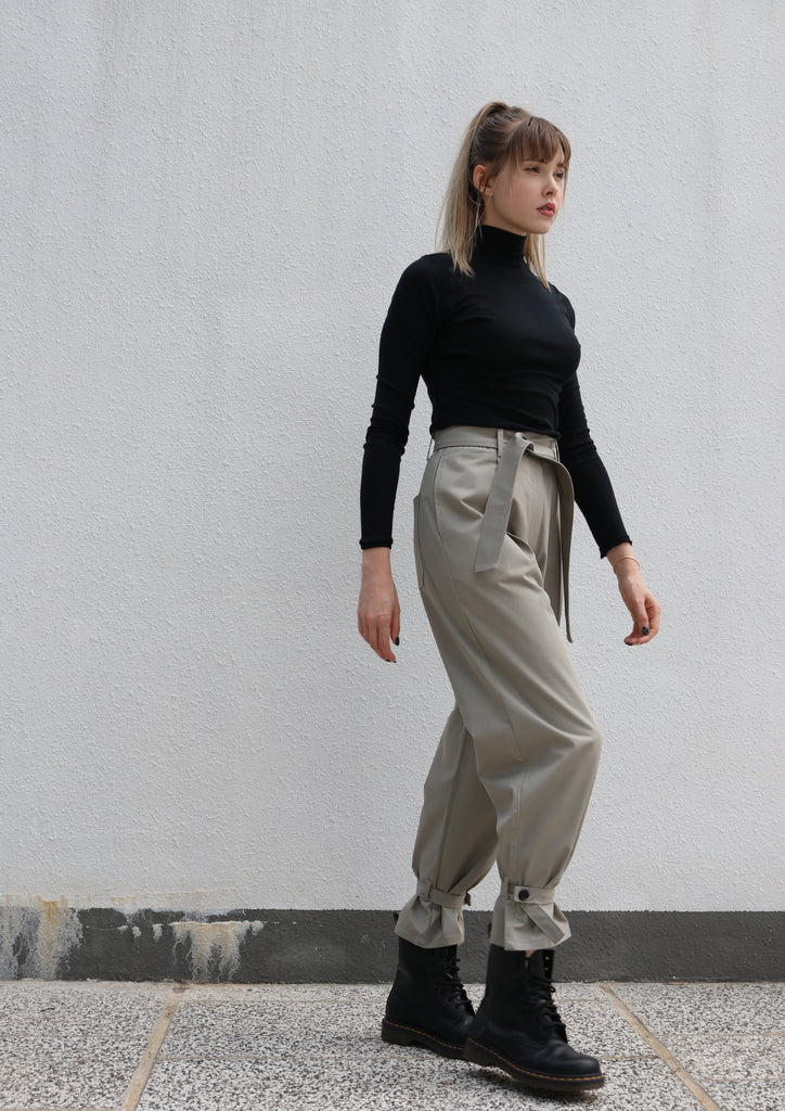 Grey Strappy Trousers