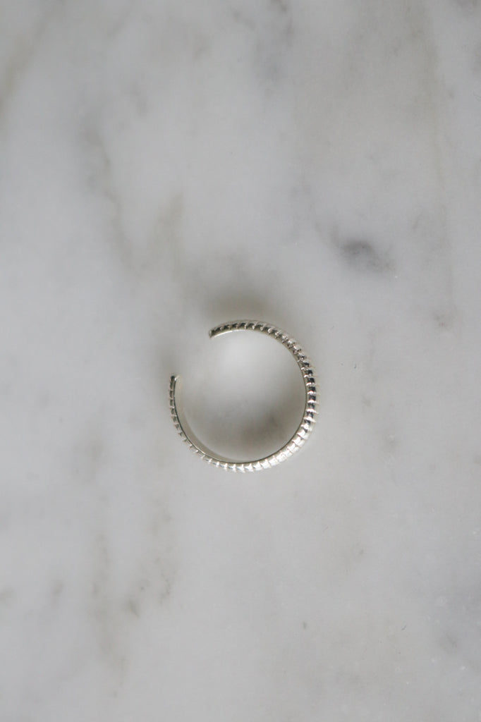 Silver Ribbed Ear Cuff