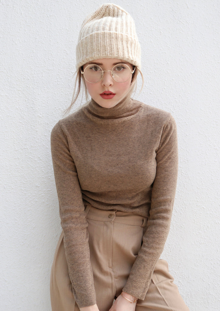 Brown Turtleneck Knit