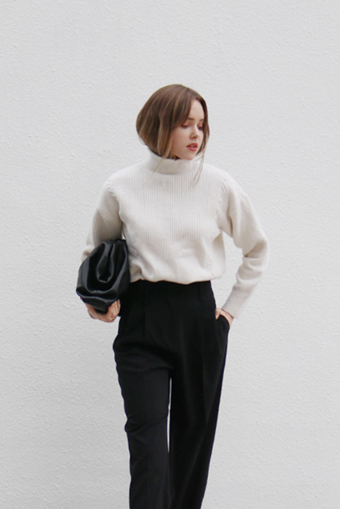 Cream Cable Knit Mockneck Sweater
