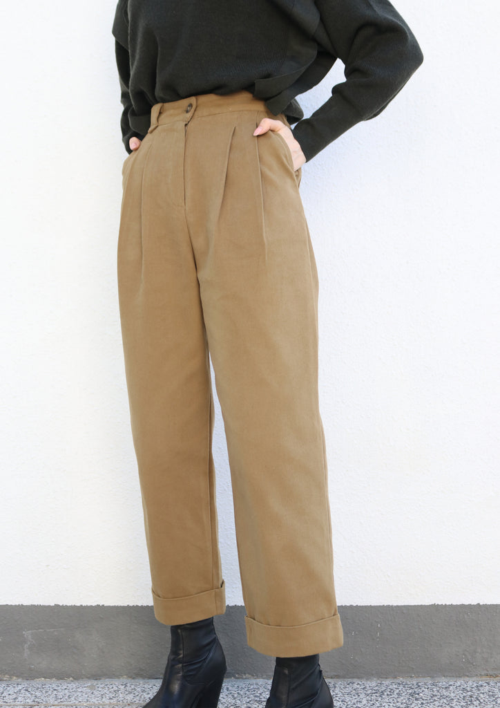 Camel Wide-leg Cuffed Trousers