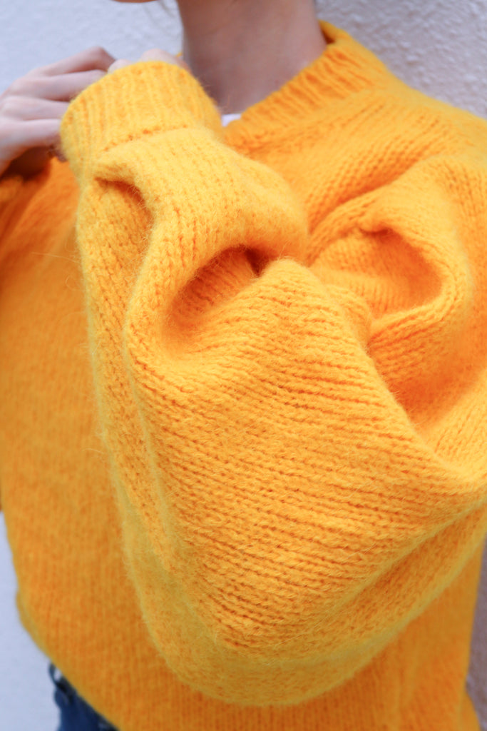 Yellow Balloon Sleeve Knit Sweater