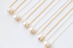 Single pearl necklace. Freshwater pearl necklace. Perfect for layering.