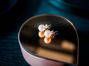 9mm stud pearl earrings, freshwater pearl earrings.