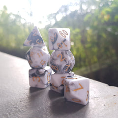 RPG Dice Set - White/Black Marble (Die Hard Dice) | Sunny Pair'O'Dice