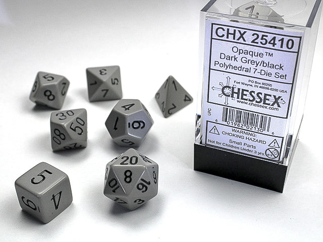 Chessex Opaque Polyhedral Dark Grey/black Dice Set (CHX25410) | Sunny Pair'O'Dice