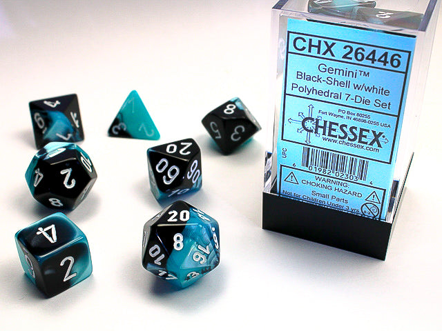 Chessex Black-shell/White Gemini Polyhedral Dice Set (CHX26446) | Sunny Pair'O'Dice