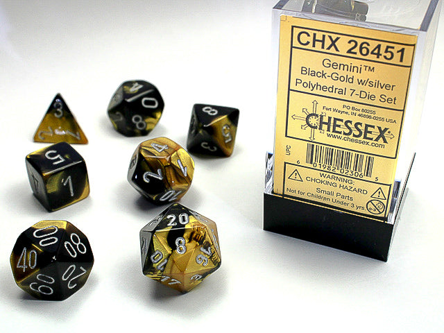 Chessex Black-Gold/silver Gemini Polyhedral Dice Set (CHX26451) | Sunny Pair'O'Dice