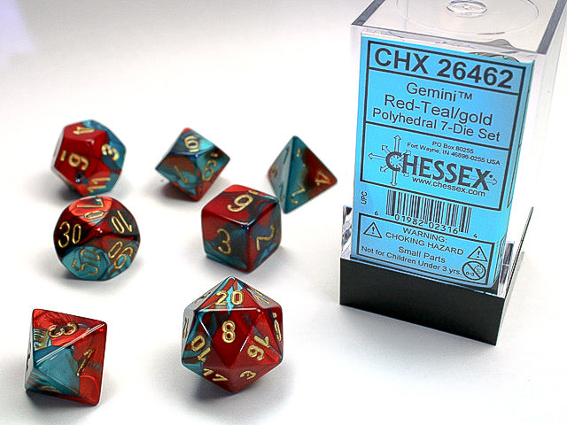 Chessex Red-Teal/gold Gemini Polyhedral Dice Set (CHX26462) | Sunny Pair'O'Dice