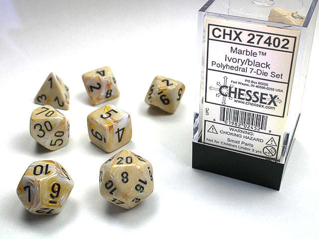 Chessex Marble Ivory/black Polyhedral Dice Set (CHX27402) | Sunny Pair'O'Dice