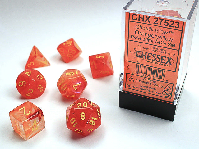 Chessex Orange/yellow Ghostly Glow Polyhedral Dice Set (CHX27523) | Sunny Pair'O'Dice
