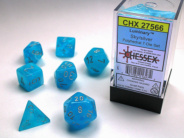 Chessex Sky/silver Luminary Polyhedral Dice Set (CHX27566) | Sunny Pair'O'Dice
