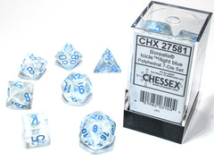 Chessex Borealis® Polyhedral Icicle™/light blue Luminary 7-Die Set (CHX27581) | Sunny Pair'O'Dice