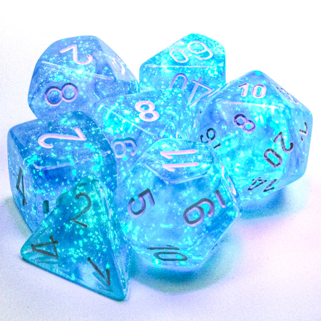Chessex Borealis® Polyhedral Sky Blue/white Luminary 7-Die Set (CHX27586) | Sunny Pair'O'Dice