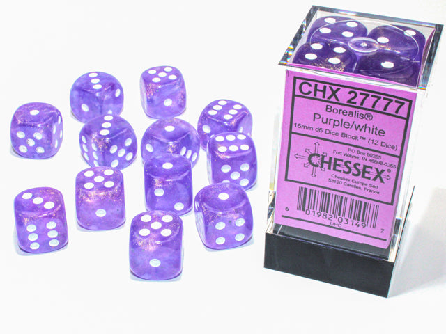 Chessex Borealis® 16mm d6 Purple/white Luminary Dice Block™ (12 dice) (CHX27777) | Sunny Pair'O'Dice