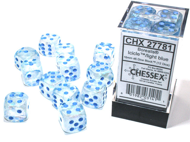 Chessex Borealis® 16mm d6 Icicle™/light blue Luminary Dice Block™ (12 dice) (CHX27781) | Sunny Pair'O'Dice