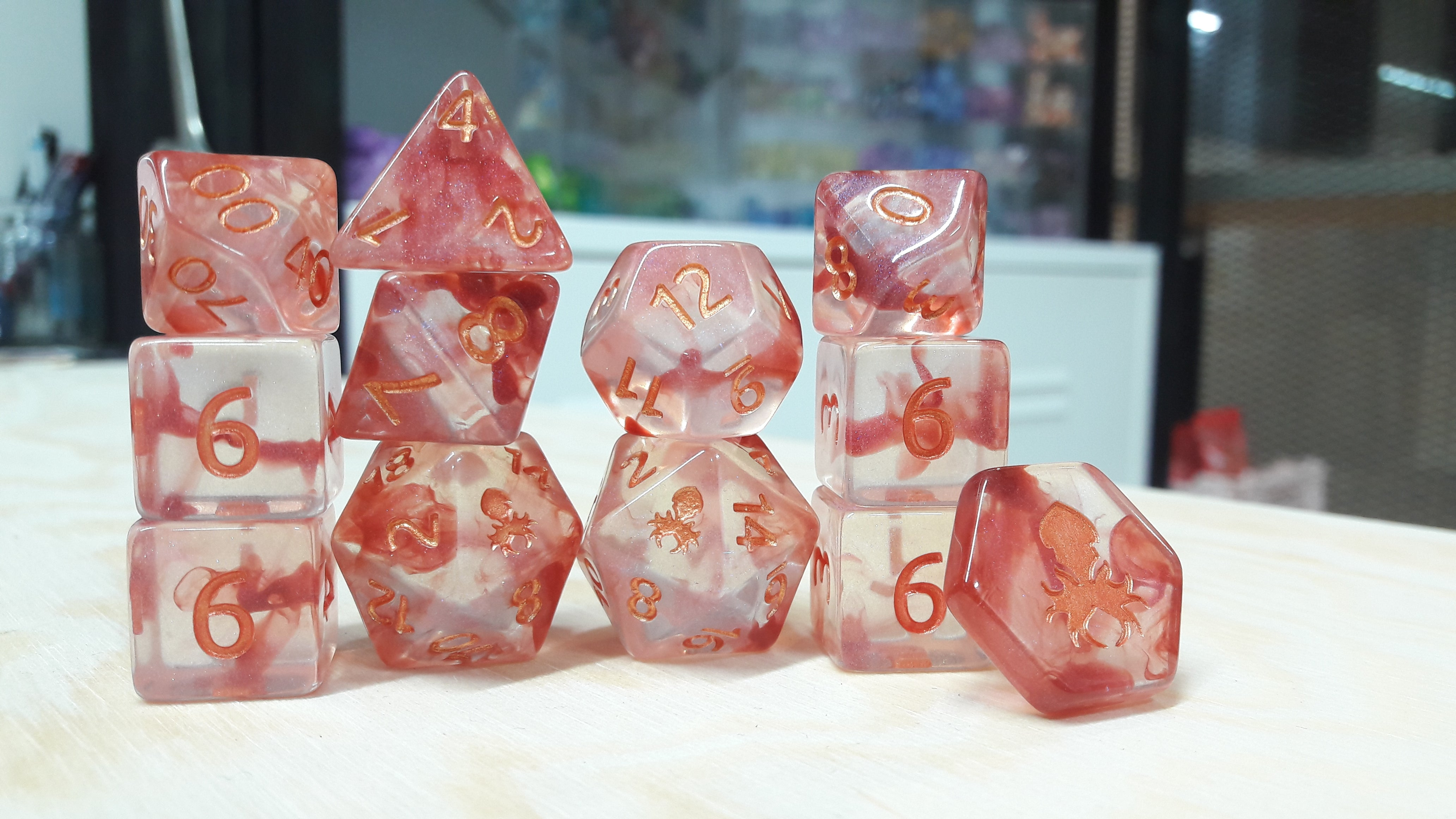 Blood Curse 12pc Polyhedral Dice set with Copper Ink - Kraken Dice | Sunny Pair'O'Dice