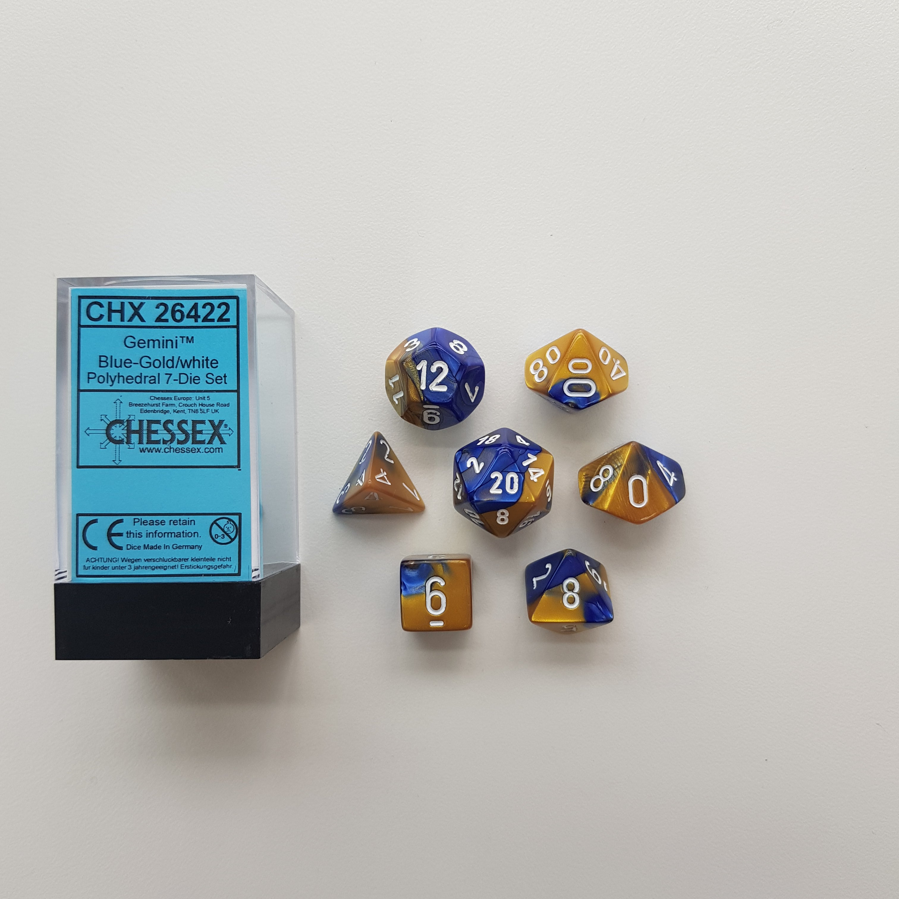 Chessex Blue-Gold/White Gemini Polyhedral Dice Set (CHX26422) | Sunny Pair'O'Dice