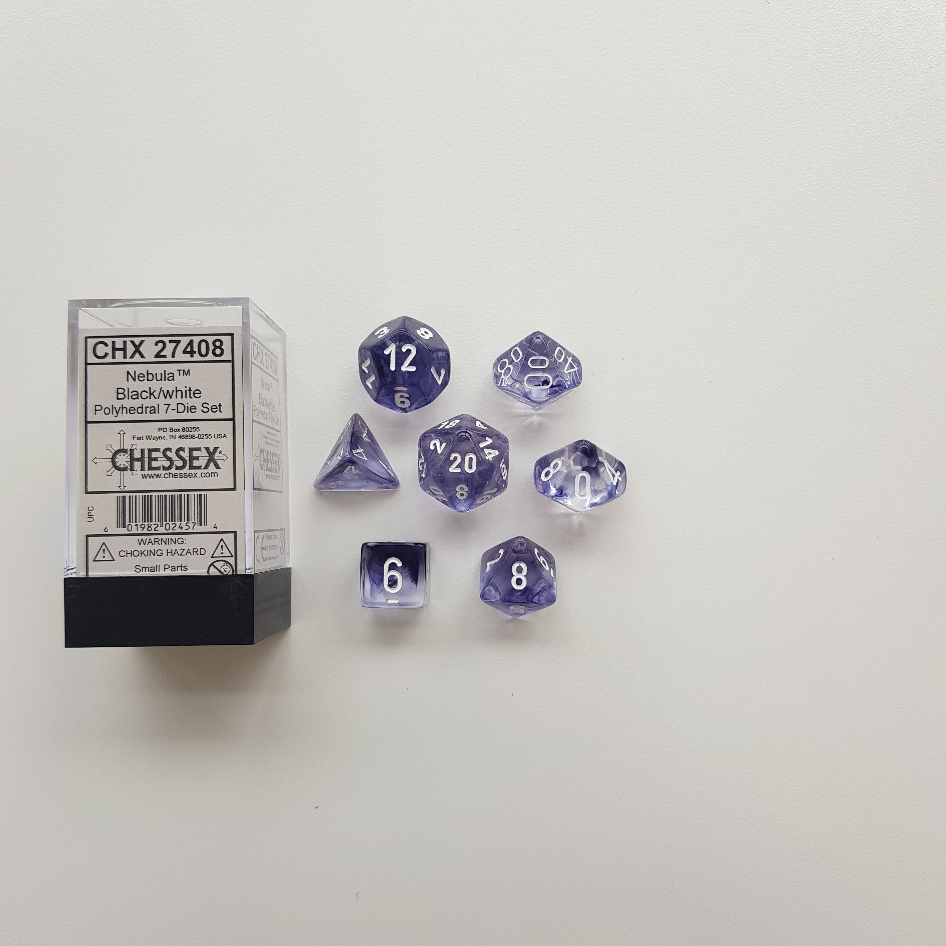 Chessex Black/White Nebula Polyhedral Dice Set (CHX27408) | Sunny Pair'O'Dice