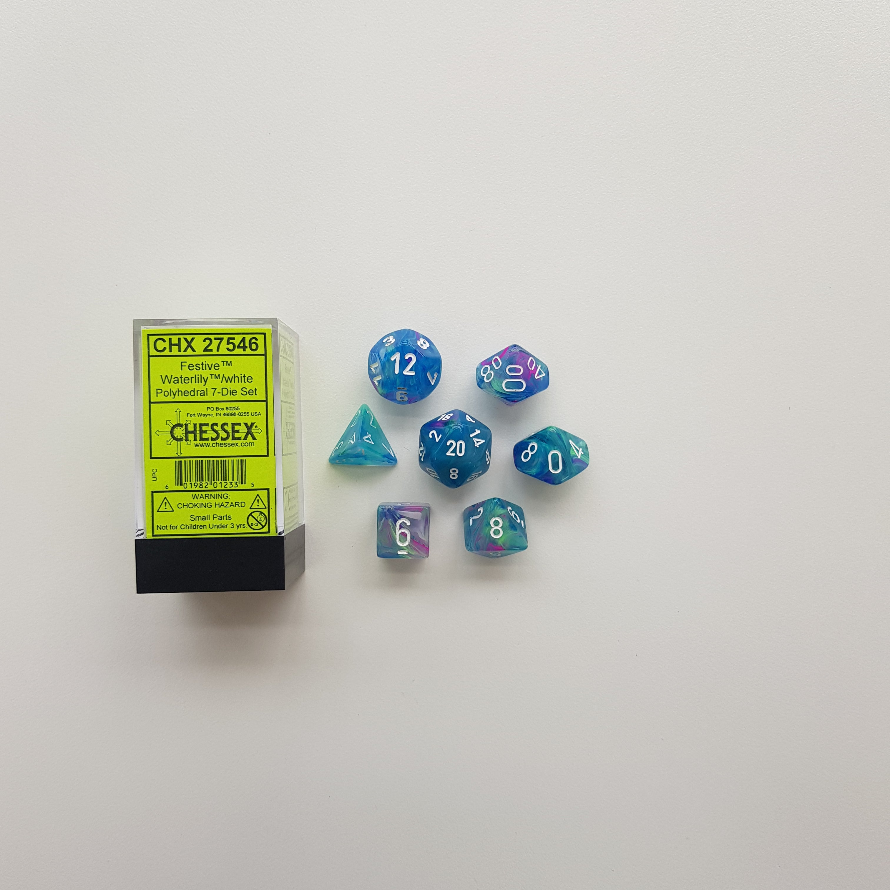 Chessex Waterlily w/White Festive Polyhedral Dice Set (CHX27546) | Sunny Pair'O'Dice