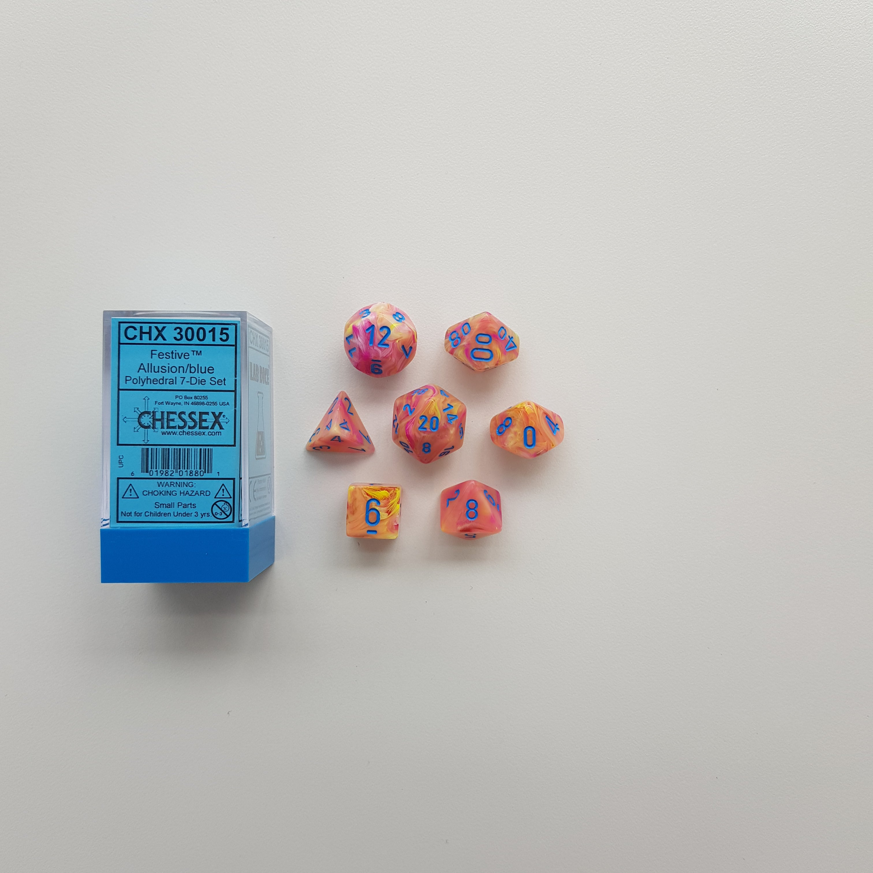 Chessex Allusion/Blue Festive Polyhedral Dice Set (CHX30015) | Sunny Pair'O'Dice